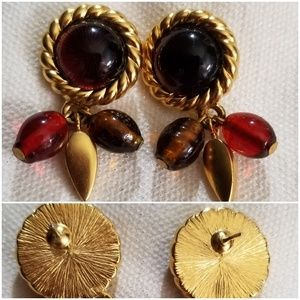 Glass decorated earrings - red brown purple posts